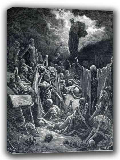 Dore, Gustave: The Vision of the Valley of Dry Bones. Fine Art Canvas. Sizes: A4/A3/A2/A1 (002627)